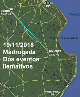 UFO Events in Lobos and Dolores (Map) - Argentina 11-19-18