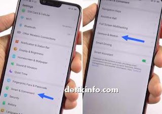 menu gesture and motion Realme android