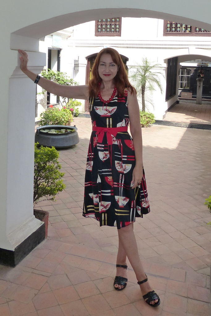 Chinese print summer dress