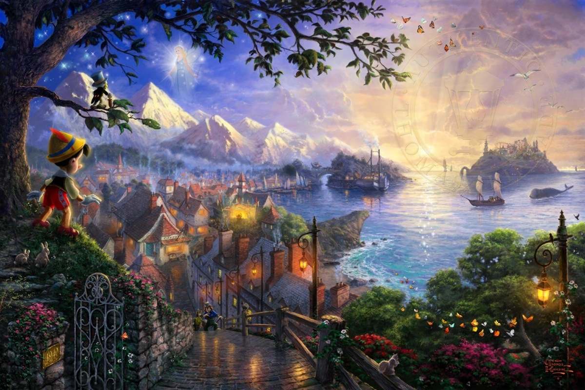 09-Pinocchio Wishes Upon A Star-Thomas-Kinkade-Walt-Disney-Stories-Seen-Through-Paintings-www-designstack-co