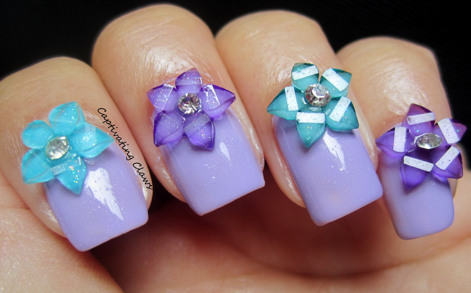 Captivating Claws: 3D Nail Art with Flowers and Bows from ...
