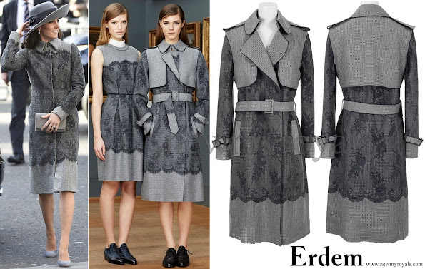 The Duchess wore a bespoke gray jacket by ERDEM, a Canadian designer. The bespoke jacket resembles very much the gray trench jacket with lace effect and floral-print, which is in the Pre-Fall 015-2016 collection of ERDEM.