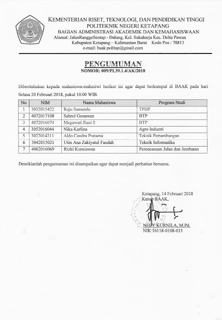 Pengumuman Registrasi 14 Feb 2018