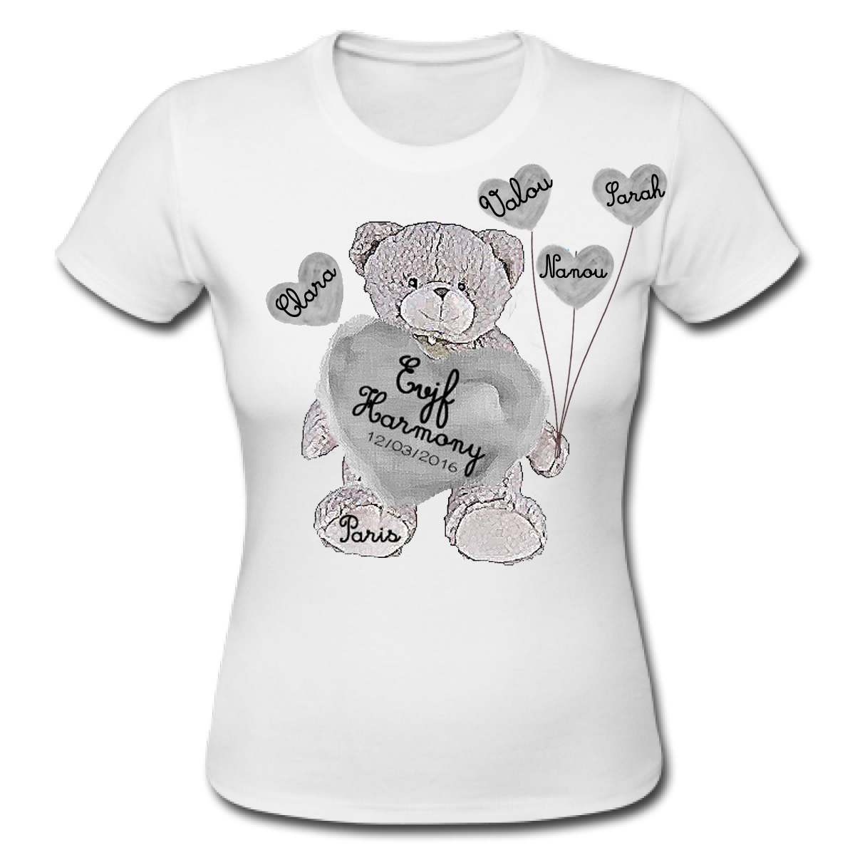 workshop2c t shirt evjf personnalis nounours beary hearts. Black Bedroom Furniture Sets. Home Design Ideas