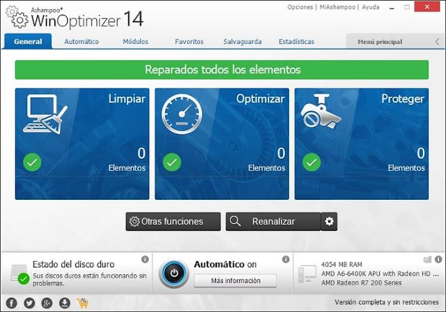 Descargar Ashampoo WinOptimizer Optimizar pc rendimiento