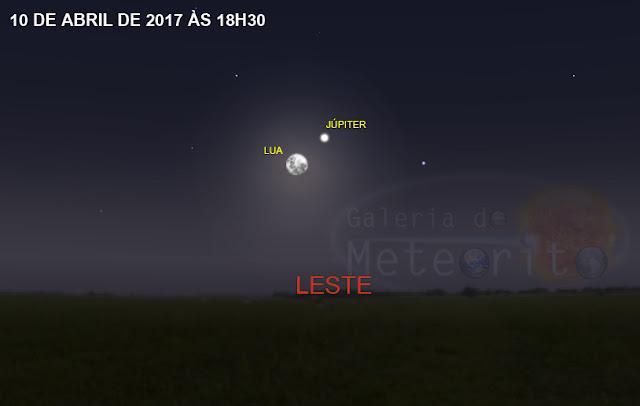 encontro entre Lua e Júpiter no céu noturno - 10 de abril de 2017