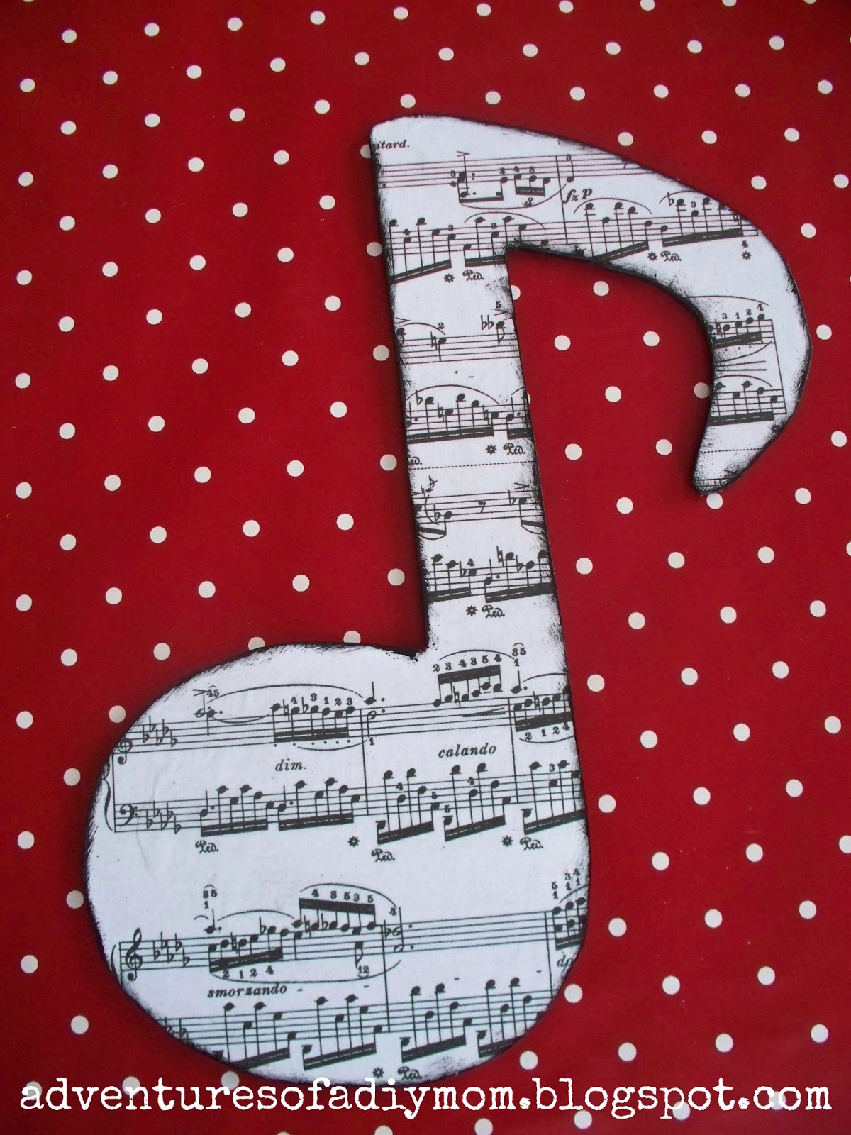 Mod Podge Wooden Music Notes Decor - Adventures of a DIY Mom
