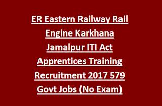 ER Eastern Railway Rail Engine Karkhana Jamalpur ITI Act Apprentices Training Recruitment 2017 579 Govt Jobs (No Exam) Last Date 08-05-2017