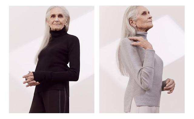 Возрастная модель в черном и сером свитере