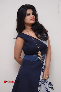 Telugu Actress Alekhya Stills in Blue Long Dress at Plus One ( 1) Audio Launch  0045.jpg
