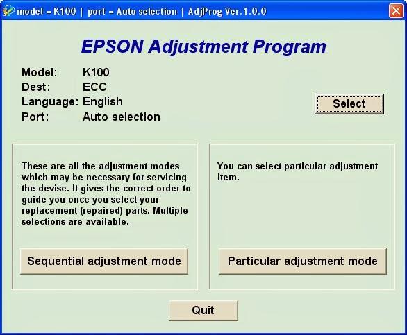 Epson K100 adjustment program