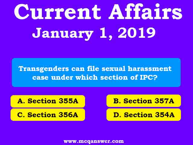 Current Affairs | January 1, 2019 | Part - 3 - MCQ Answer