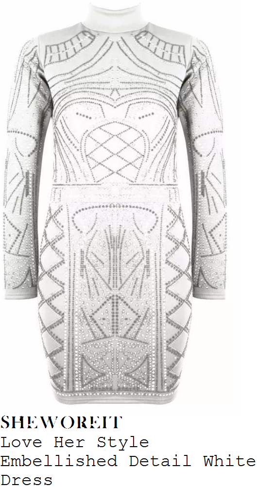 daisey-odonnell-white-embellished-crystal-detail-long-sleeve-high-neck-bodycon-mini-dress-instagram