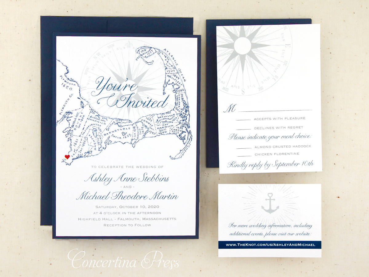 Cape Cod Wedding Invitations with Map and website card from Concertina Press