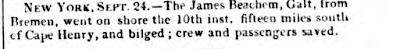 Climbing My Family Tree: The James Beachem Shipwreck,  as reported in The Hull Packet and Humber Mercury (East Riding of Yorkshire, England),