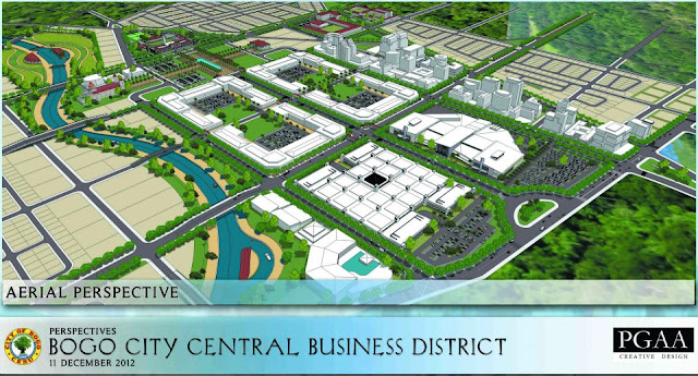 Aerial perspective of the New Bogo City Central Business District. (Creek Area)