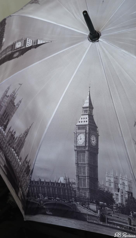 Galleria London in Black and White Walking Stick Style Umbrella