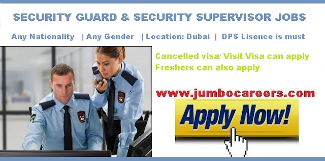 security guard and supervisors required for dubai