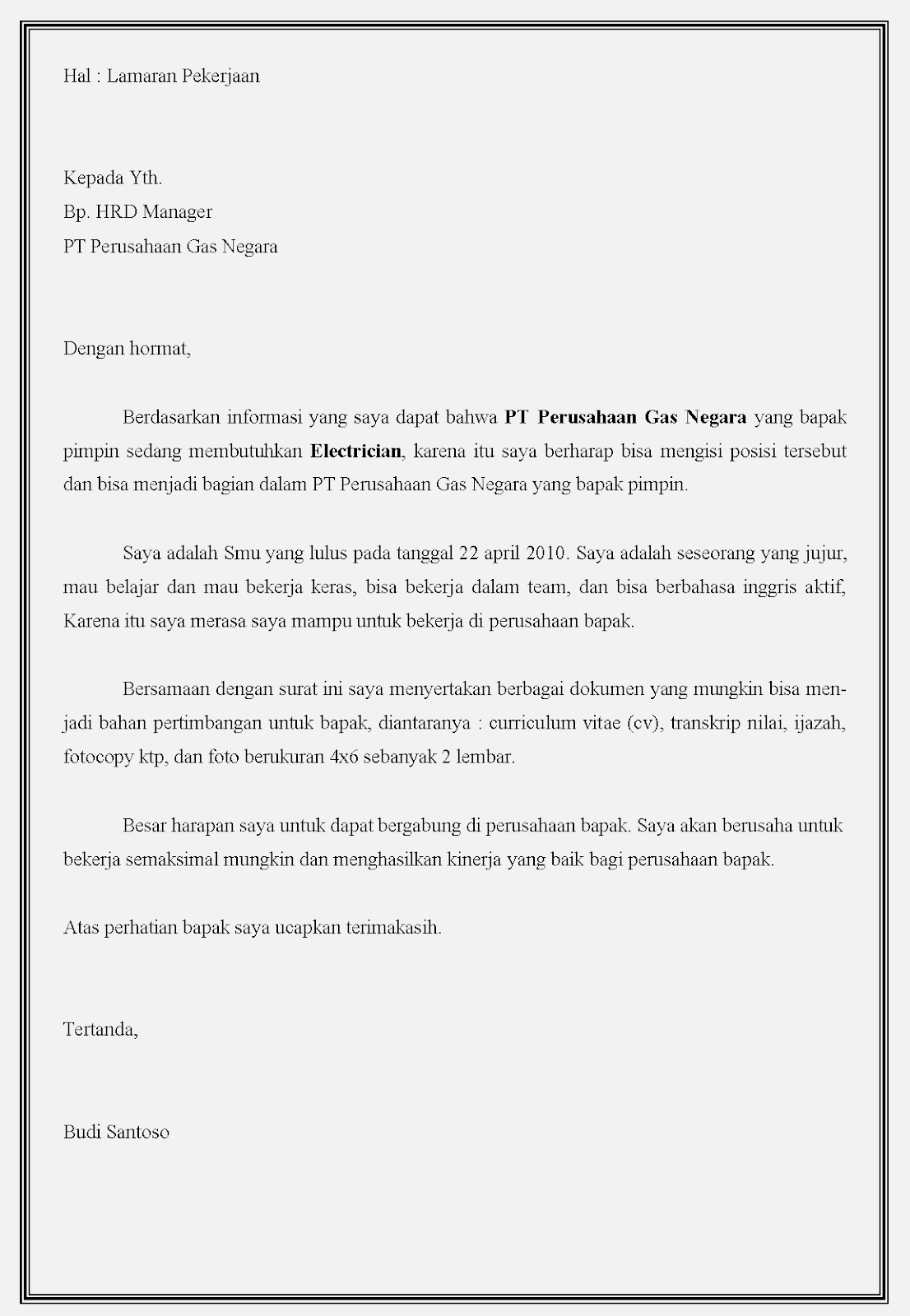 Contoh surat lamaran kerja bumn di PT PGN