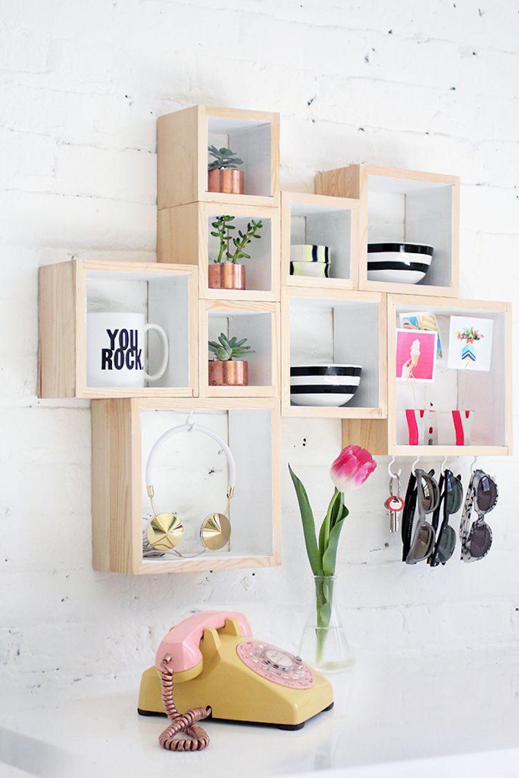 estantería diy composición de cajas de madera