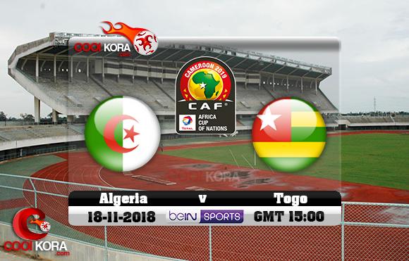 مشاهدة مباراة توجو والجزائر اليوم 18-11-2018 تصفيات كأس أمم أفريقيا