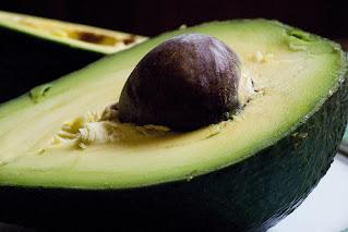 Freshly cut avocado fruit