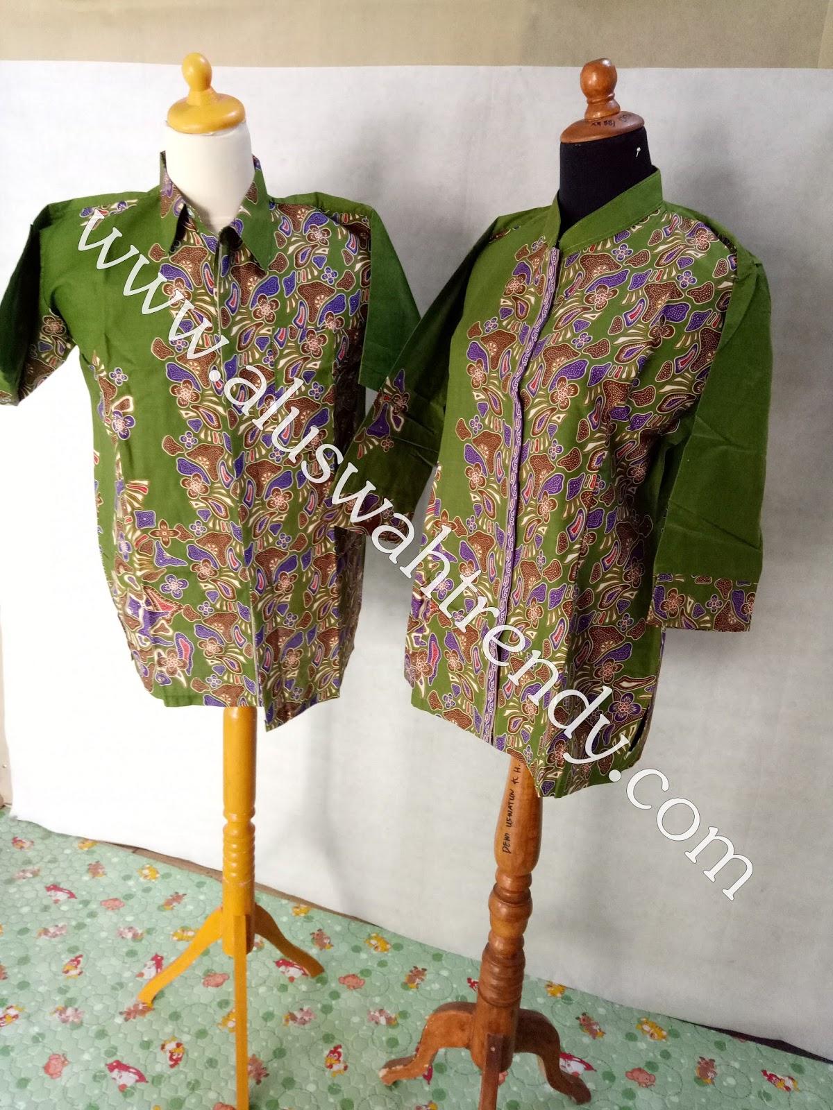 Batik Sarimbit 012 Kemeja Blus Hijau Alam