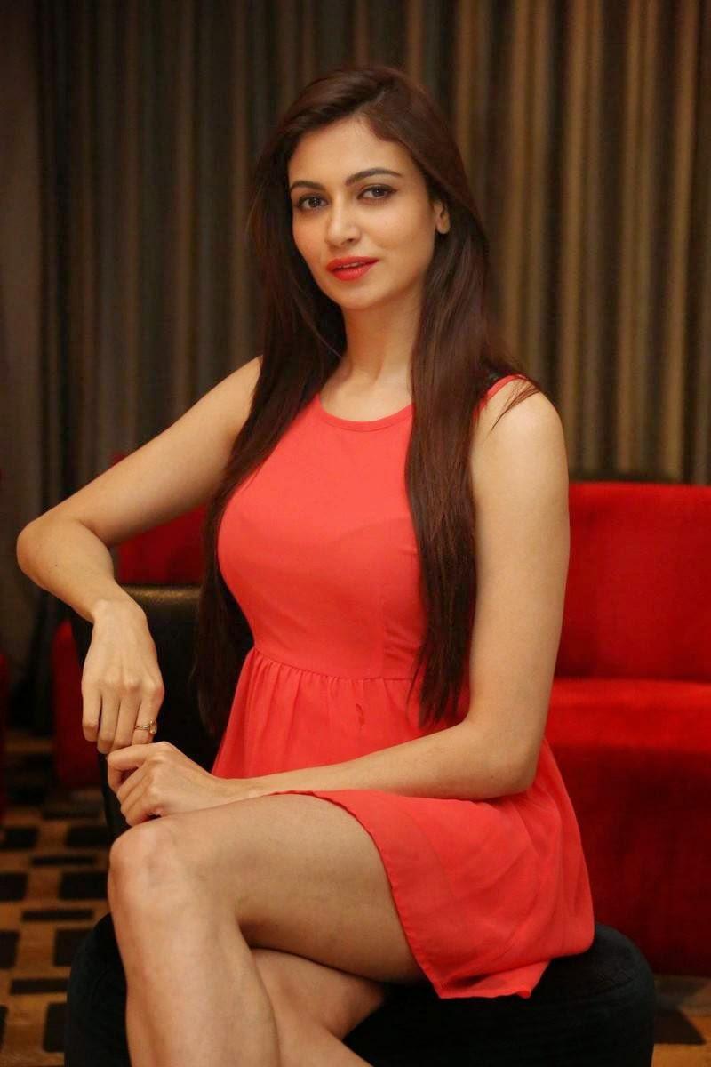 Actress Simran Kaur Mundi Images, Simran Kaur Mundi Long Legs hot Pics in Red short Dress & Boots