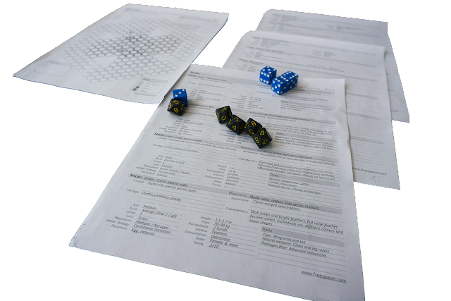 character sheets and a grid patterned map with some six and ten sided dice.
