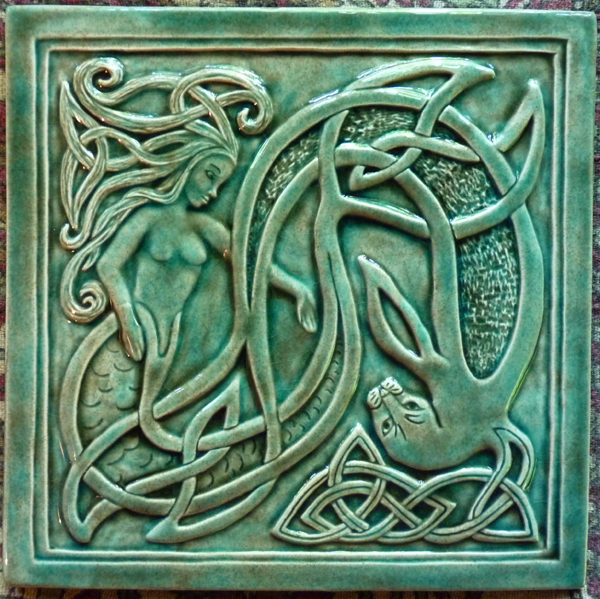 Decorative Handmade Ceramic Tile Handmade Relief Carved