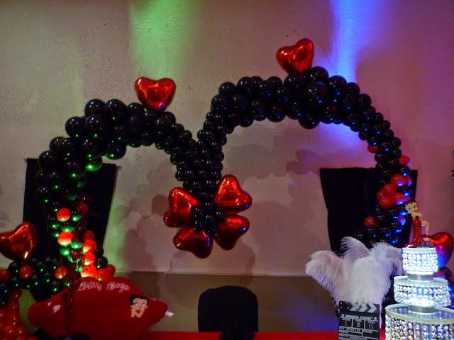 Betty Boop heart balloon arch LED light