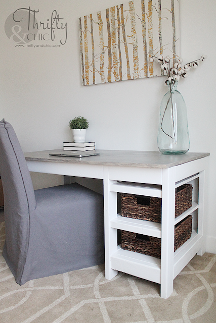 DIY desk with storage. Farmhouse desk tutorial. Desk tutorial with hidden cord storage. Desk organizing ideas.