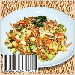 Salada de lentilha servida no prato