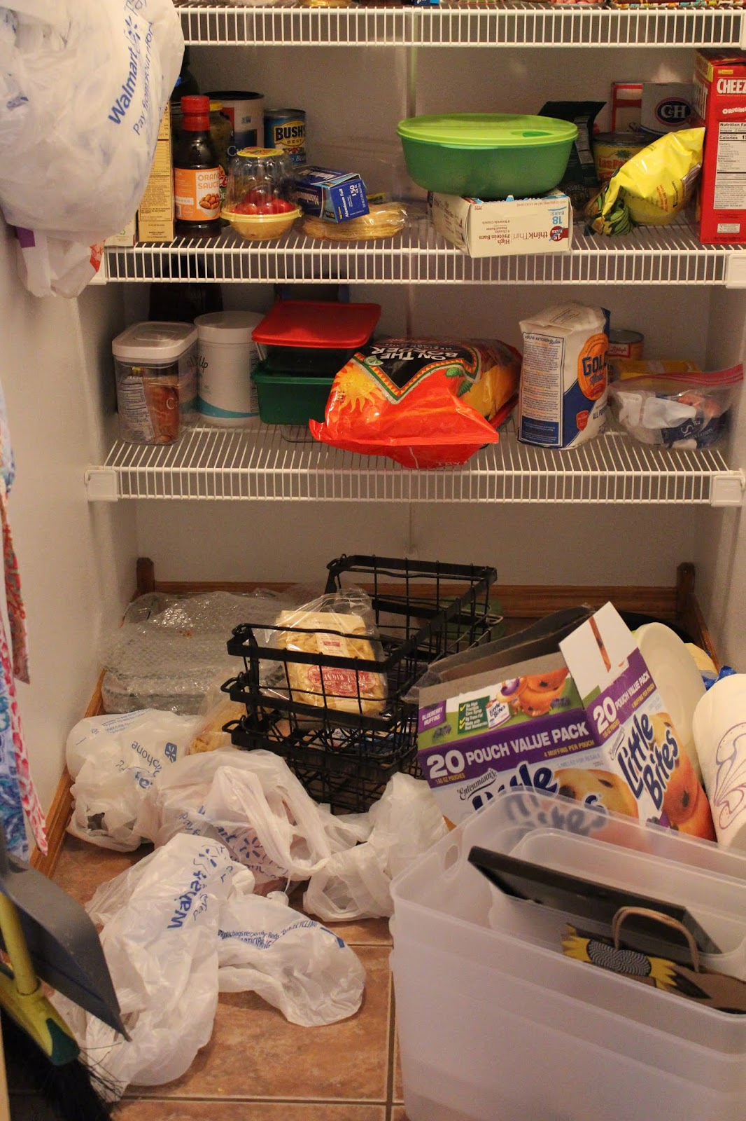 messy pantry, bags on the floor