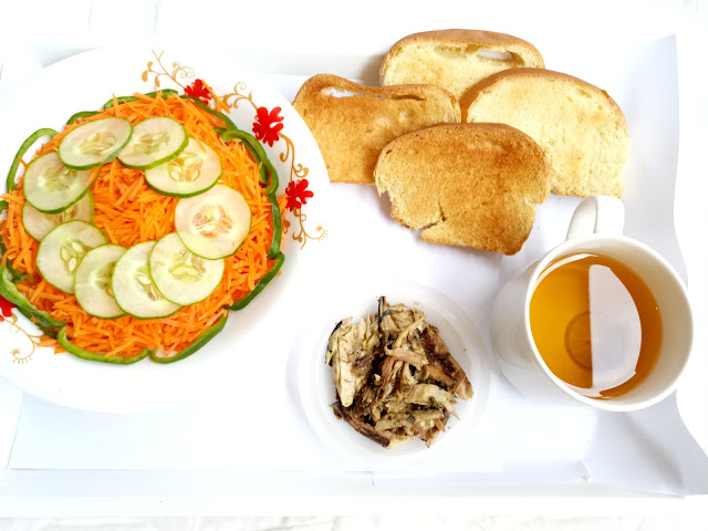 How to Relax & Spa at Home on the Weekend, breakfast, carrot salad, bread toast, kamille tea, lime, food, cameroon food blogger