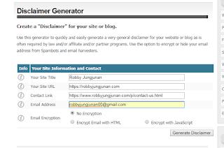 Cara Mudah Membuat Laman Disclaimer di Website atau Blog Untuk Adsense