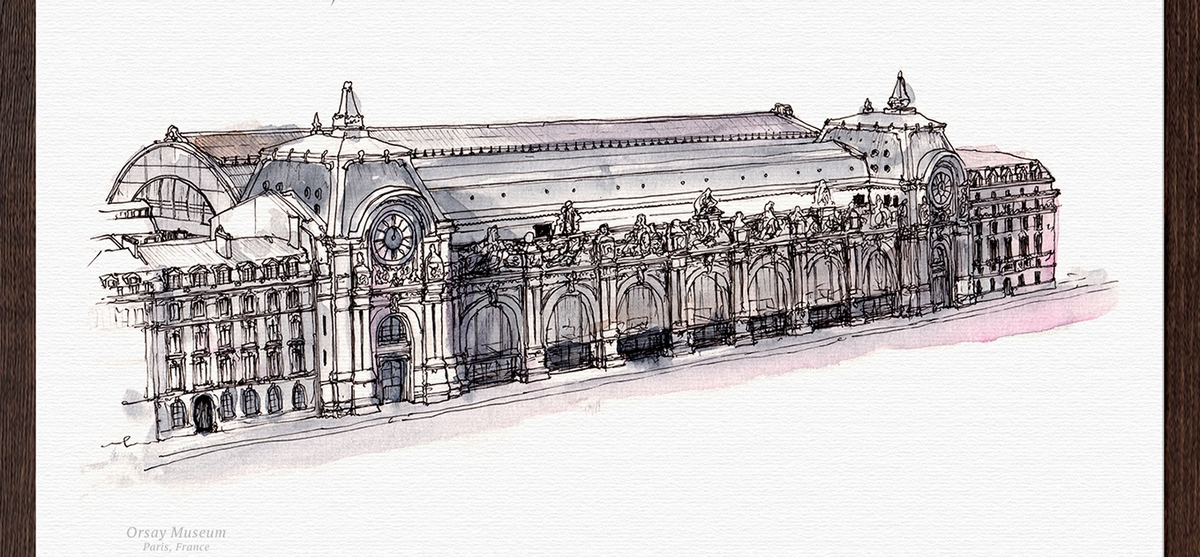 14-Musee-d-Orsay-France-Mucahit-Gayiran-Architectural-Landmarks-Watercolor-Paintings-www-designstack-co