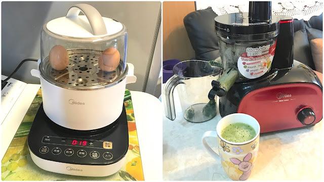 【Recipe】< 美的一天.由早餐開始>  簡易排毒去水腫早餐[3隻蛋白配火龍果青瓜汁]*美的 早餐機&慢磨榨汁機