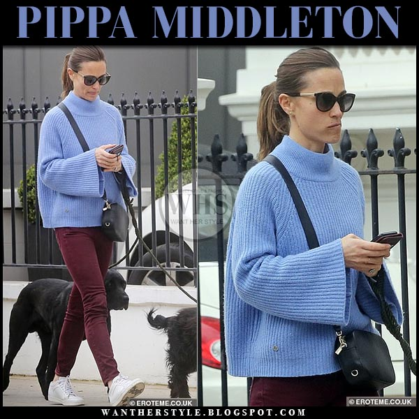 bc5456999d1 Pippa Middleton in blue knit sweater and white sneakers in London on ...