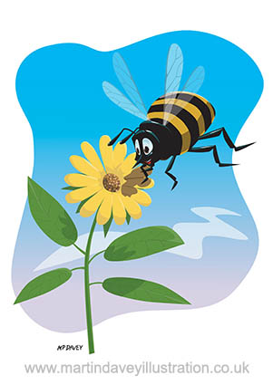 Happy cartoon bee with yellow flower vector illustration