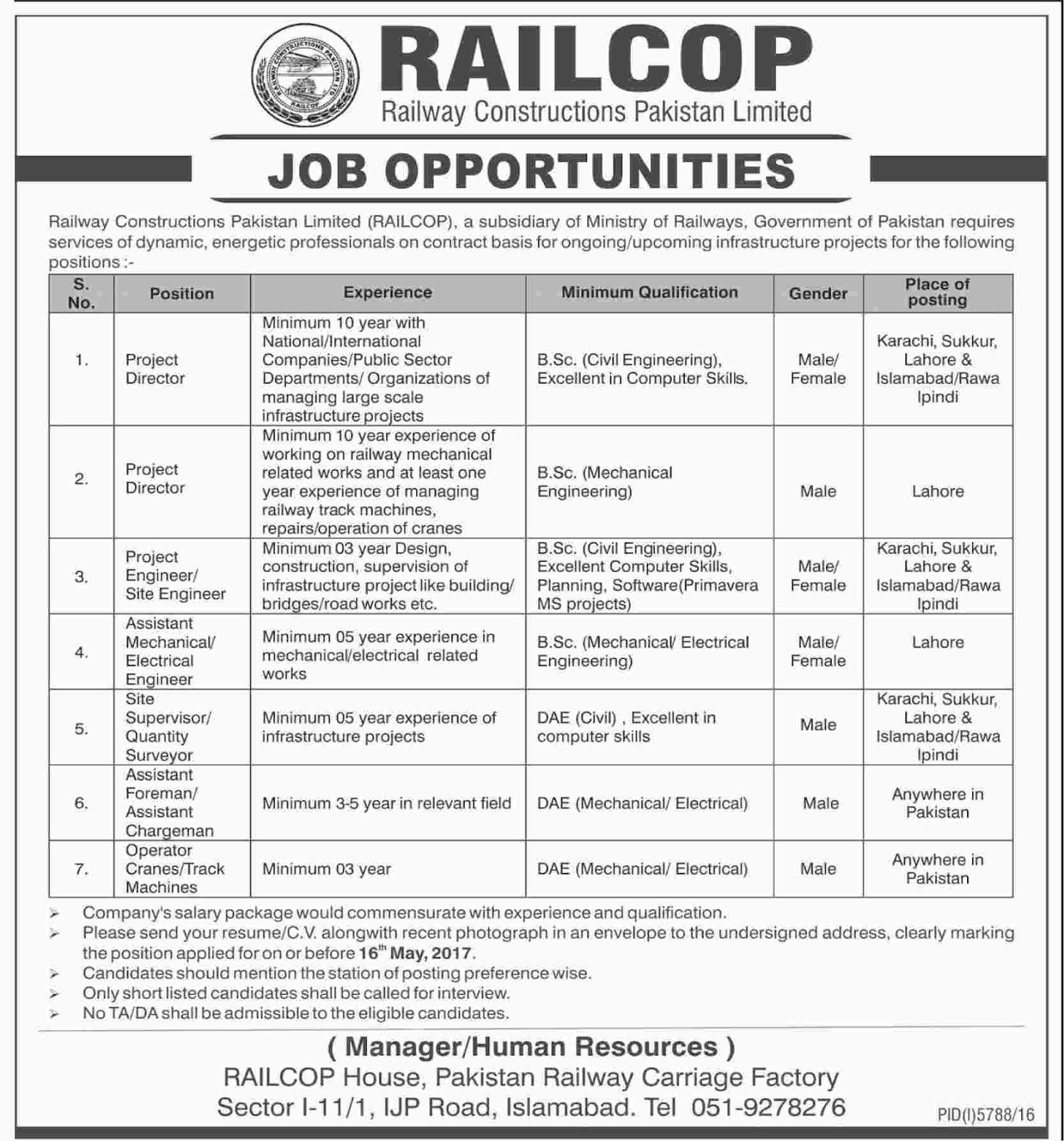 Jobs in Railcop Railway Constructions Pakistan Limited Jobs 29 Apr 2017