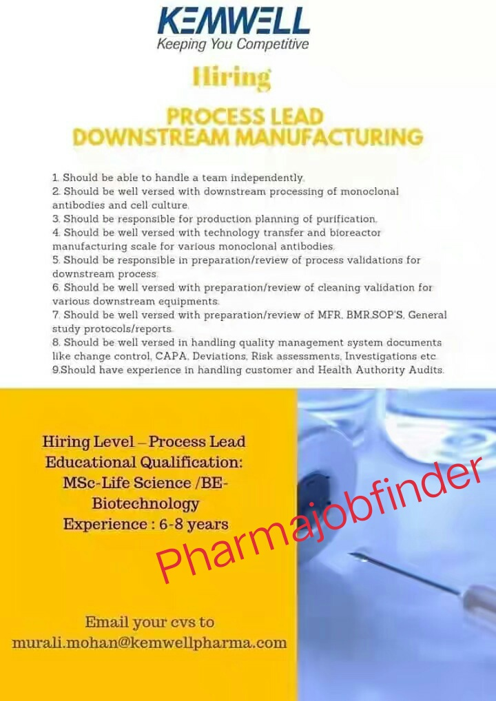 KEMWELL PHARMA Urgently Hiring Process Lead Downstream