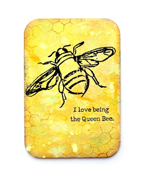 Stamped and Embossed Queen Bee Mixed Media Board by Dana Tatar