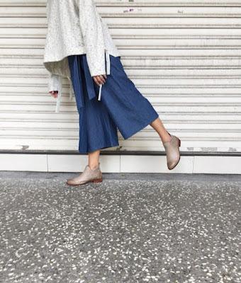 漫漫小徑一片綁帶褲裙-藍霧