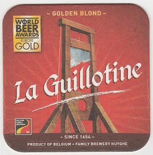 Le sous-bock de la bière La Guillotine
