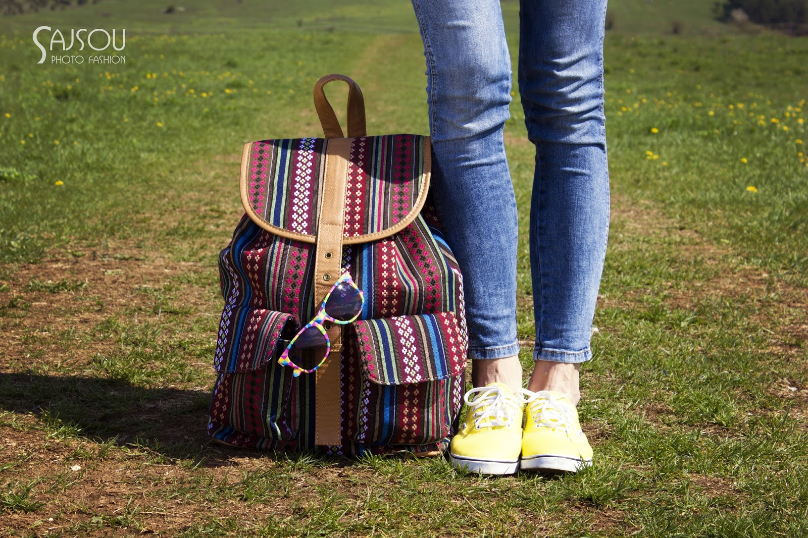 trendy backpack and colorful accessories