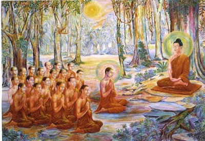 Buddha give sermons to his monk