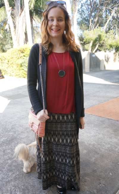 black cardigan red tee tribal Aztec print maxi skirt striped mini MAC bag