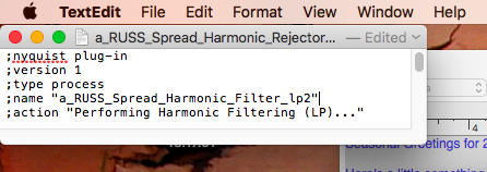 synthesizerwriter: Plain text files in macOS for Nyquist plug-ins in