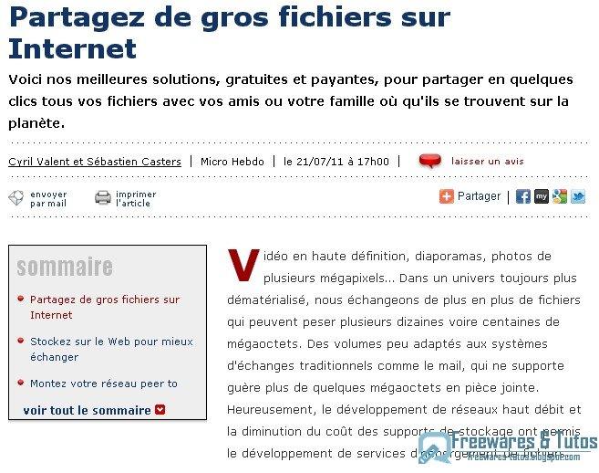 Partage-Fichiers.com est un service de partage de fichiers 100% français spécialisé dans le partage de (gros) fichiers entre professionnels. En créant un compte gratuit vous pouvez administrer les fichiers envoyés et les partager par email, sur les réseaux sociaux via un simple lien. L'interface est simple et intuitive.